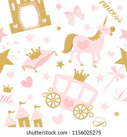 Cute girlish seamless pattern with royal carriage,castle and unicorn. Vector pink background with crown and star.Little princess party (birth, baby shower invite card) Nursery wallpaper and textile
