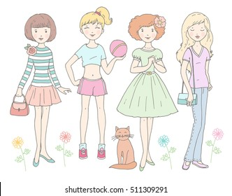 Cute girls with cat and flowers in pastel colors. Hand drawn illustration, vector set