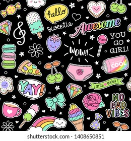 Cute girl's elements and inspiration quotes seamless pattern on black background.