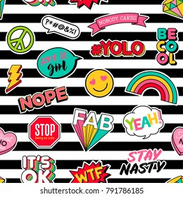 Cute girls fashion patches seamless pattern with striped background