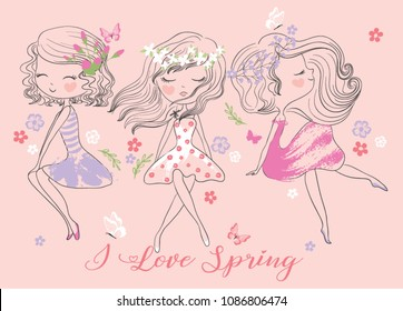 Cute girls with flowers illustration.