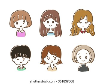 Cute girl's hairstyle Illustration