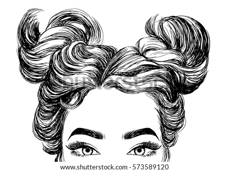Cute Girls Hairstyles Stock Vector Royalty Free 573589120