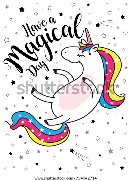 Cute Girls Magical Unicornsweet Kids Graphics Stock Vector Royalty