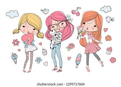 cute girls - Vector