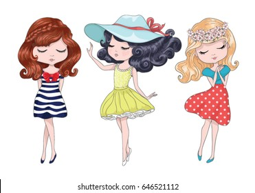 cute girls vector design set