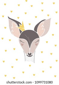 Cute girly hand drawn deer portrait. Lovely background with hearts. Scandi style. invitation and greeting card, birthday card, t-shirt graphic, poster.