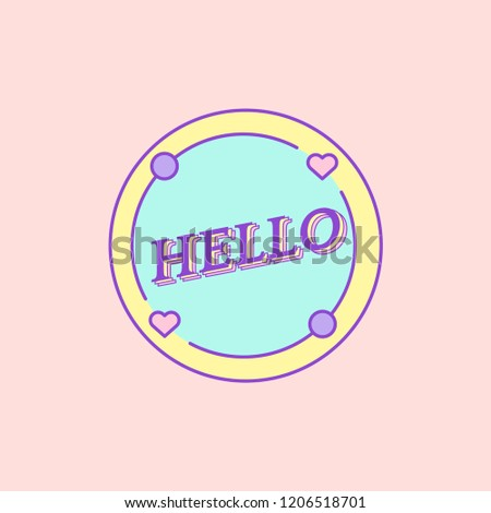 Cute and girly Hello badge vector
