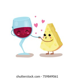 Cute glass of wine and cheese characters are best friends, vector Illustration