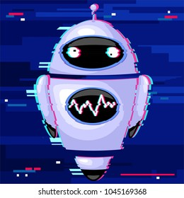 Cute Glitch Effect Robot, Chatbot, Symbol of modern technology, Artificial Intelligence, distorted on a virtual space. Vector Illustration