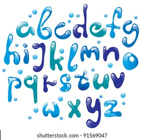 Cute glossy blue water alphabet , vector, EPS10
