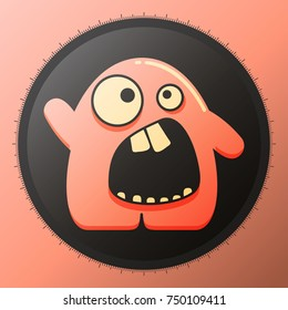Cute glossy pink monster in black circle with interesting emotion. cartoon illustration.