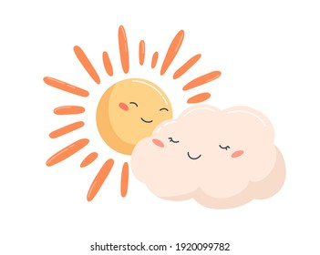 Cute glowing sun and smiling cloud characters with happy face expressions. Partly sunny weather icon. Childish colorful flat vector illustration isolated on white background
