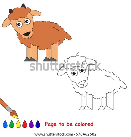 Cute Goat Be Colored Coloring Book Stock Vector Royalty Free