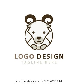 Cute Goat head inside a circle logo vector icon illustration