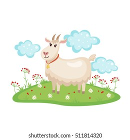 Cute goat on a meadow with flowers isolated on white background. Farm animal. Goat in cartoon style. Vector illustration.