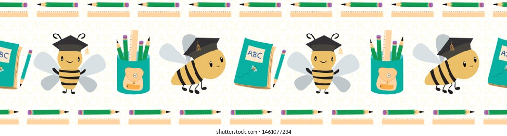 Cute going back to school border with bees, books and pencils. Seamless vector pattern on white textured background. Great for children, school, education, spelling bee products, stationery
