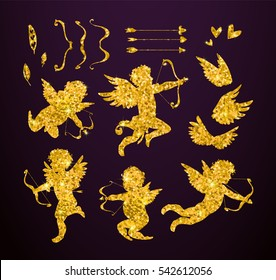 Cute Gold Cupids and amour angels with hearts, arrows, bows, wings, feathers. Silhouette set for Happy Valentines day decorations, separated editable elements. Hand drawn vector illustration.
