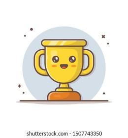 Cute Gold Trophy Vector Icon Illustration. Golden Goblet With Kawaii Face Sport Icon Concept White Isolated. Flat Cartoon Style Suitable for Web Landing Page, Banner, Sticker, Background