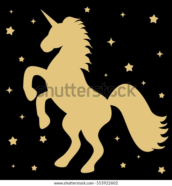 Cute Gold Unicorn Silhouette Stars On Stock Vector (Royalty
