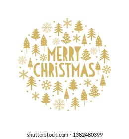 Cute Gold and White Hand Drawn Merry Christmas Vector Card. Gold Snowflakes and Christams Trees in a Circle Shape Frame. Gold Handwritten Merry Christmas Isolated on a White Background.