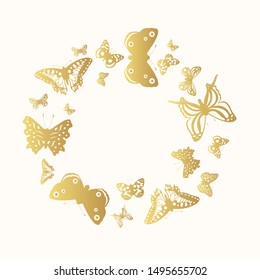Cute golden butterflies frame for wedding decoration. Gold exotic butterfly wreath. Gorgeous monarch border. Vector isolated illustration.