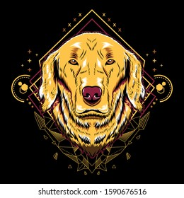 Cute golden retriever dog mandala geometry vector illustration on black background for t-shirt, sticker, posters. Animal tattoo style