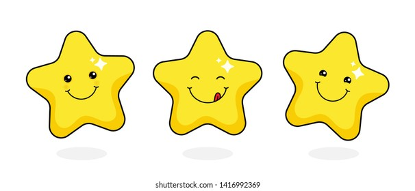 Cute golden star set with yummy smile.