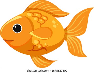 Cute goldfish on white background illustration