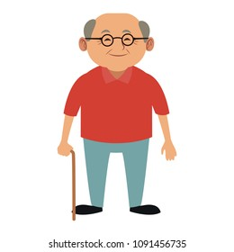 Cute grandfather cartoon