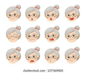 Cute grandma in glasses with facial emotions. Grandma face with different expressions. Granny in cartoon style vector illustration.