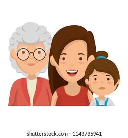 cute grandmother with daughter and granddaughter