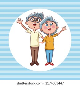 Cute grandparents cartoon