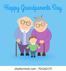 Cute grandparents with grandson. Happy Grandparent's day. Family.
