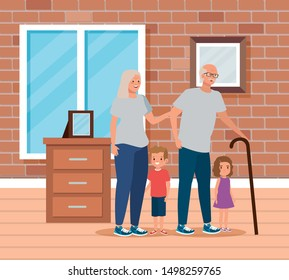cute grandparents with their boy and girl child