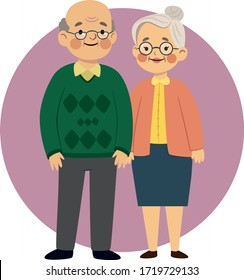Cute Grandparents vector illustration. Old cute and happy couple template. Grandmother and grandfather illustration