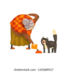 Cute granny feeding her black cat, lonely old lady and her animal pet vector Illustration on a white background