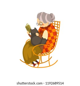 Cute granny sitting in a cozy rocking chair and reading a book, black cat lying on her knees, lonely old lady and her animal pet vector Illustration on a white background