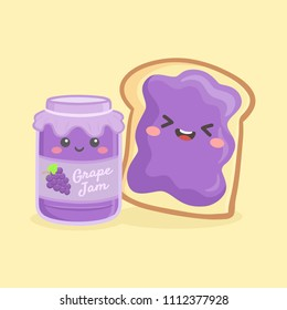 Cute Grape Jelly Jam Bottle Jar and Loaf Bread Sandwich Vector Illustration Cartoon Smile