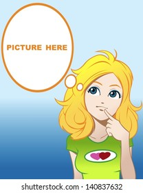 Cute Graphic Cartoon Girl Thinking About Something (You Can Put Your Picture In The bubble frame)