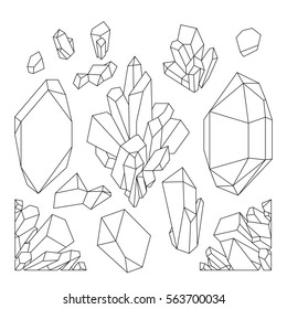 Cute graphic crystals drawn in line art style and isolated on white background. . Coloring book page design for adults