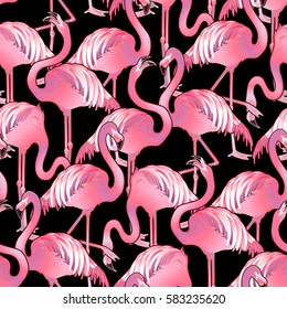 Cute graphic flamingo in the side view. Pretty exotic birds. Vector seamless pattern