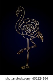 Cute graphic flamingo in the side view. Pretty exotic bird isolated on black background. T-shirt print or tattoo design