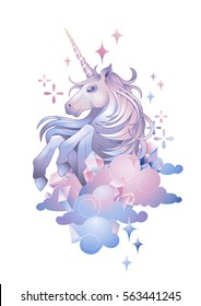 Cute graphic unicorn in the sky. Vector fantasy art in pastel colors isolated on white background