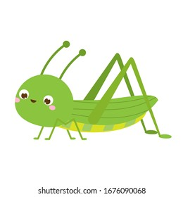 Cute grasshopper. Cartoon insect character. Vector illustration, clip art
