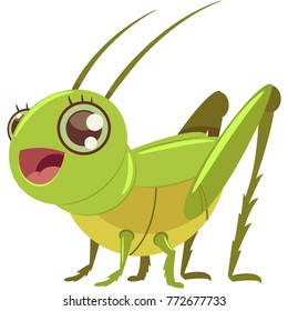 Cute grasshopper vector cartoon character isolated on white background.