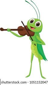 cute Grasshopper with a Violin