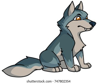 Cute gray cartoon wolf, digital vector illustration of wild animals and nature.