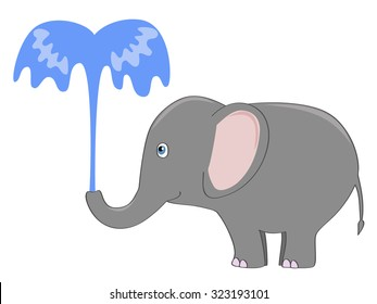 cute gray elephant pouring itself with a fountain of water
