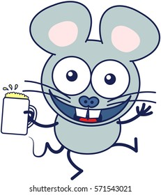 Cute gray mouse in minimalistic style with huge rounded ears and big teeth while widely opening its bulging eyes, raising its arms and holding a glass of frothy beer as for celebrating something